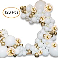"Balloon Arch Kit - 120 PCS 16Ft Latex Balloon Garland Kit with 18"" 12"" 10"" Gold and Whtie Balloons Confetti Balloons and Metallic Balloons for Parties Baby Shower Birthday Bachelorette Party Backdrop Background Decoration"