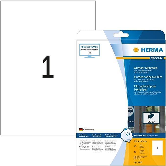 480x HERMA Outdoor Folien-Etiketten weiß mit Rand wetterfest Outdoor Klebefolie