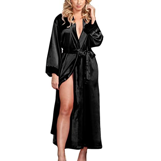 Twinsmall Women Sexy Long Silk Kimono Dressing Gown Babydoll Bath Robe Lace  Lingerie (Black) b7ed97287