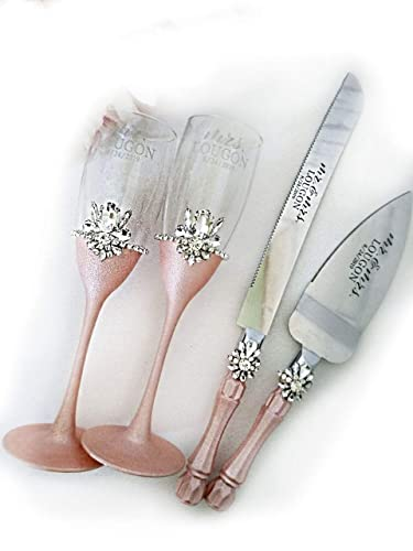 Amazon Com Rose Gold And Crystal Wedding Toasting Glasses And Cake Server Set Rose Gold Champagne Flutes Wedding Cake Server Crystal Cake Knife 4pcs Handmade