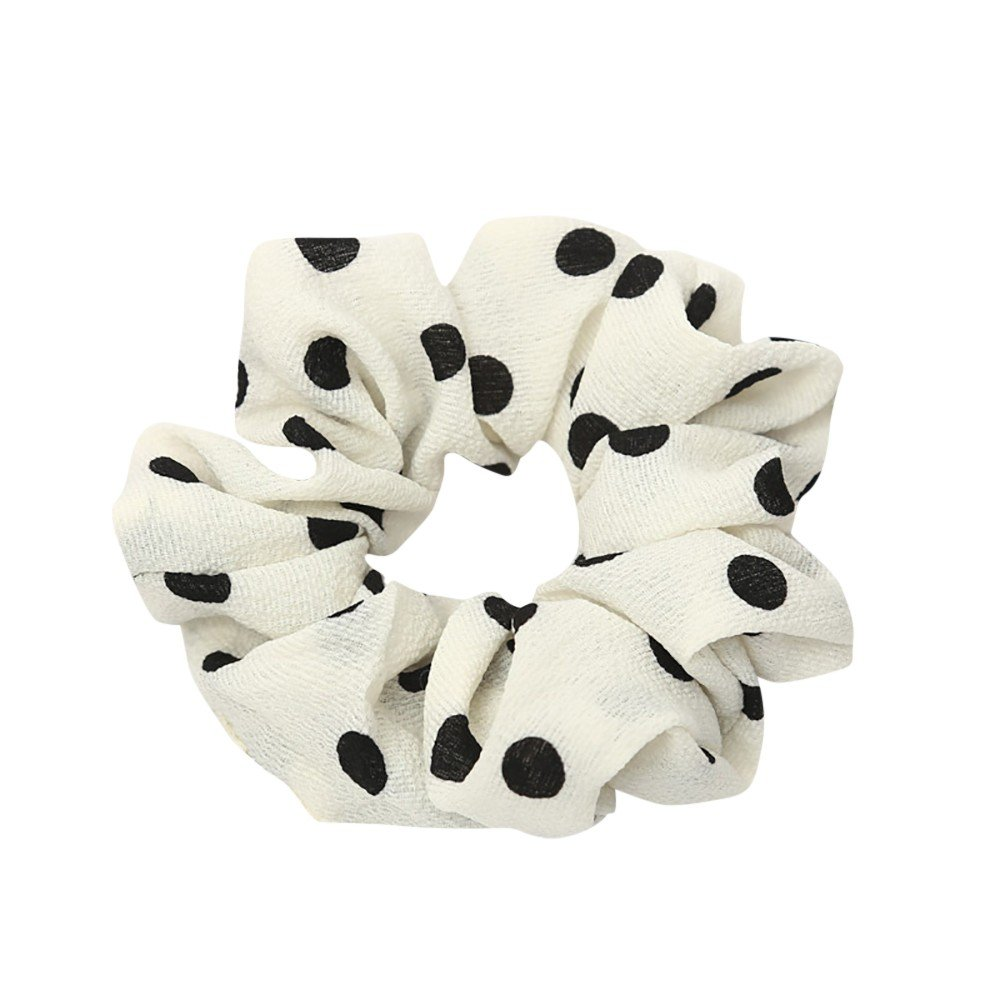 URIBAKE Women Elastic Hair Rope Ring Tie Dots Print Cloth Scrunchie Ponytail Holder Hair Band Headband White