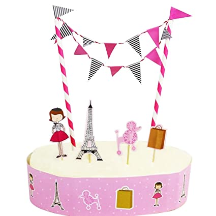 HOMU Girls Paris Eiffel Tower French Theme Cake Topper Bunting Decorations Pink Poodle Party Decor