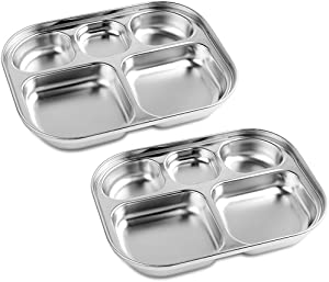 Stainless Steel Divided Plates Tray for Kids Toddlers Babies, 5 Section, Small Size, Compact Serving Platter, Dinner Snack, Camping Dishes (2 Pack)