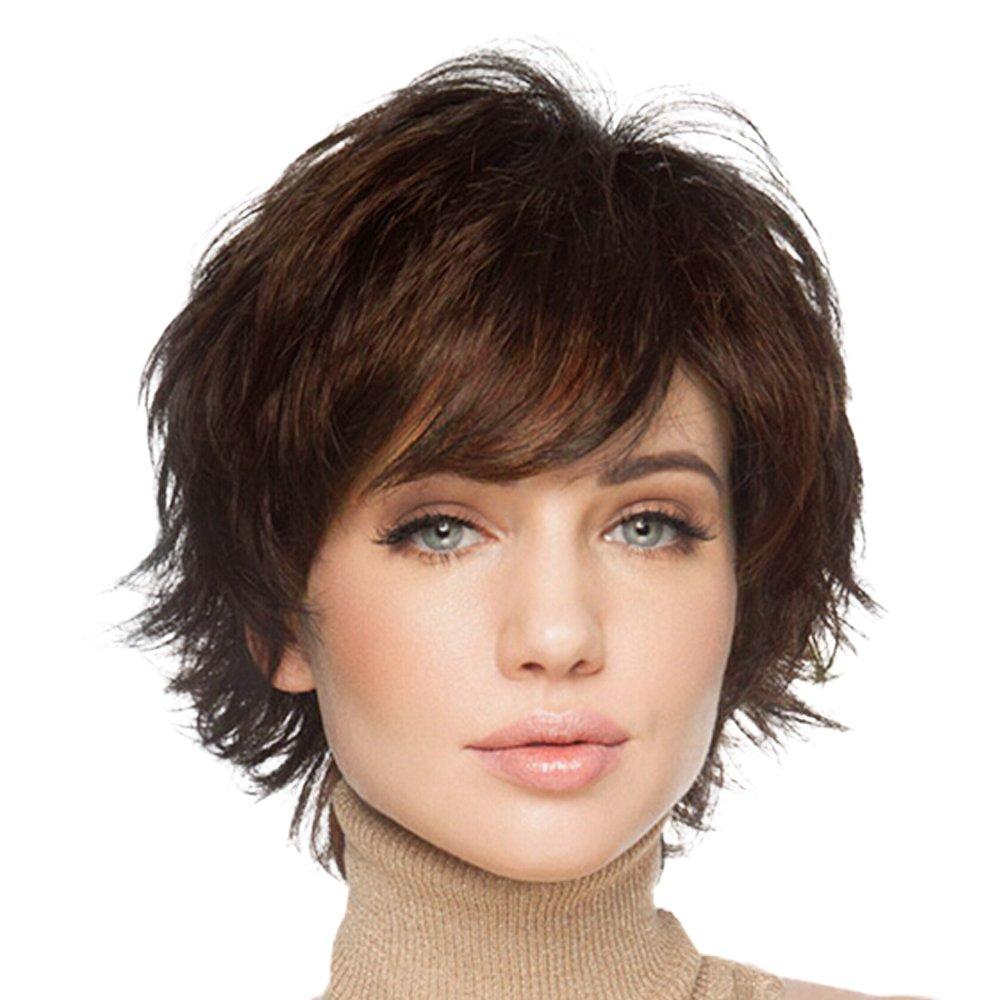 BLONDE UNICORN 100% Hand Tied Natural Short Wigs for Women Human Hair Auburn
