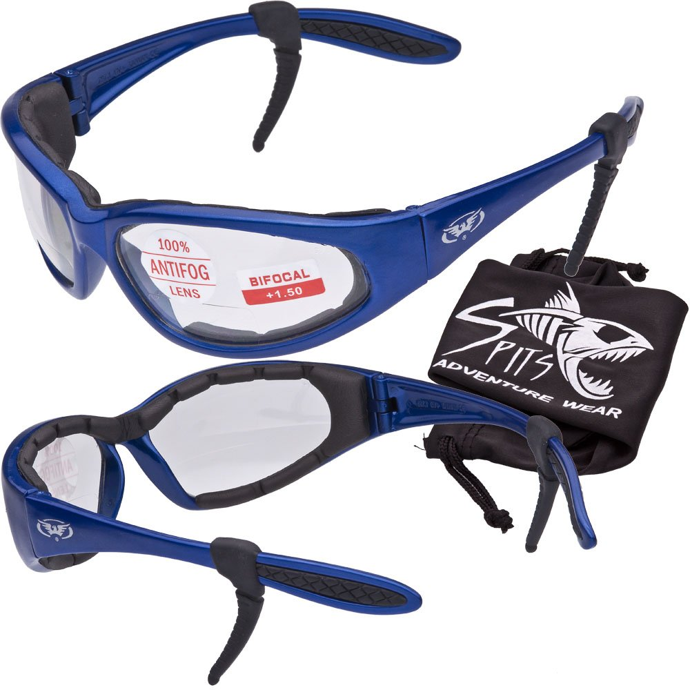 Hercules 2.50 BIFOCAL Safety Glasses - Foam Padded - Rubber Ear Locks - BLUE Frame - CLEAR Lens