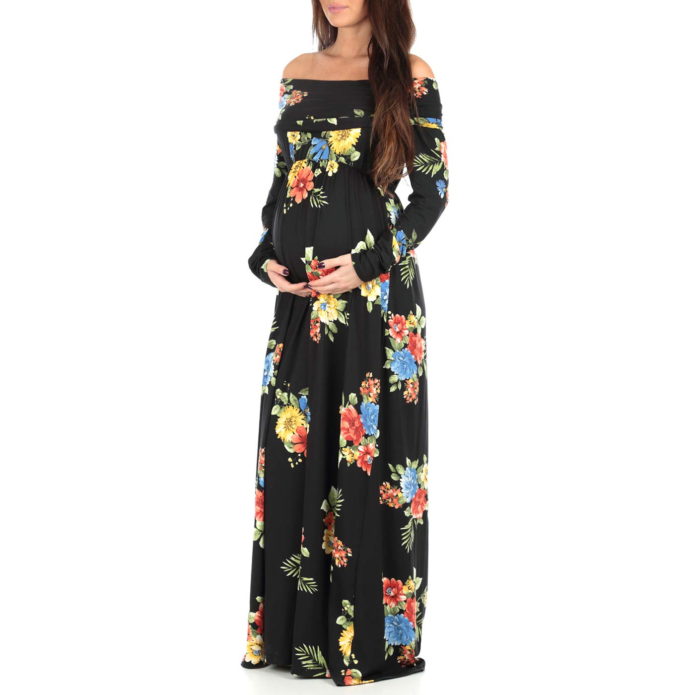 7b9073437f2f1 Women's Floral Over The Shoulder Ruched Maternity and Nursing Dress by  Mother Bee - Made in USA at Amazon Women's Clothing store: