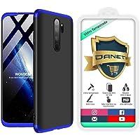 "Kit Capa Capinha Anti Impacto 360 Full Para Xiaomi Redmi Note 8 Pro Tela 6.53"" Polegadas - Case Acrílica Fosca Com Película De Vidro Temperado - Danet (Todo preto)"