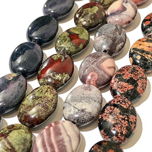 ([ABCgems] Rare Purple Dumortierite, Dragon Blood Jasper, Red Snowflake Jasper, Porcelain Jasper (4 Strands Lot) 13x18mm Oval Beads. Each Strand 8