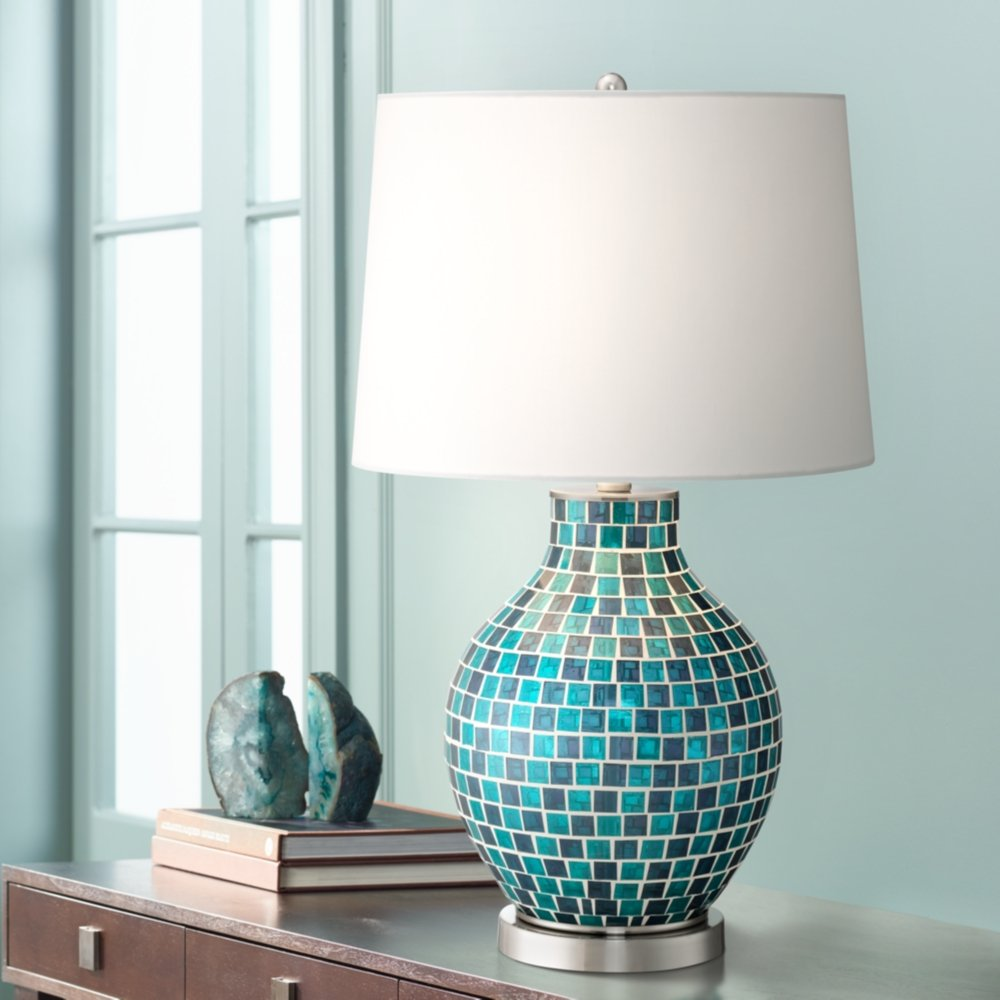 Teal Blue Glass Mosaic Jar Table Lamp - - Amazon.com