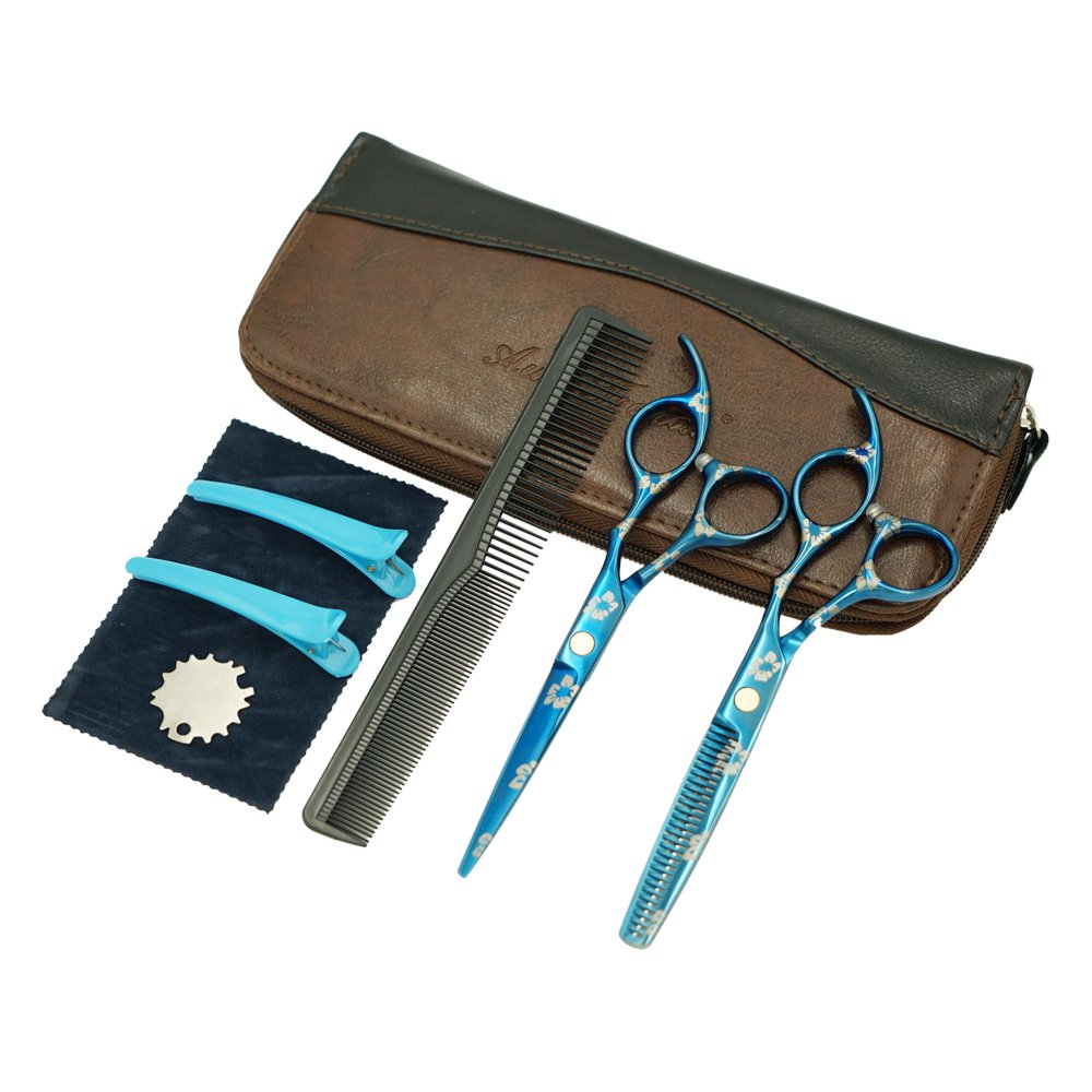 AuroTrends Professional Barber Razor Edge Hair Cutting Shears Set, Sakura Hairdressing Scissors and Hair Thinning Scissors/Shear Set+ Free Case/Hairclips/Comb/Cleaning Cloth (Sakura) by AuroTrends (Image #1)