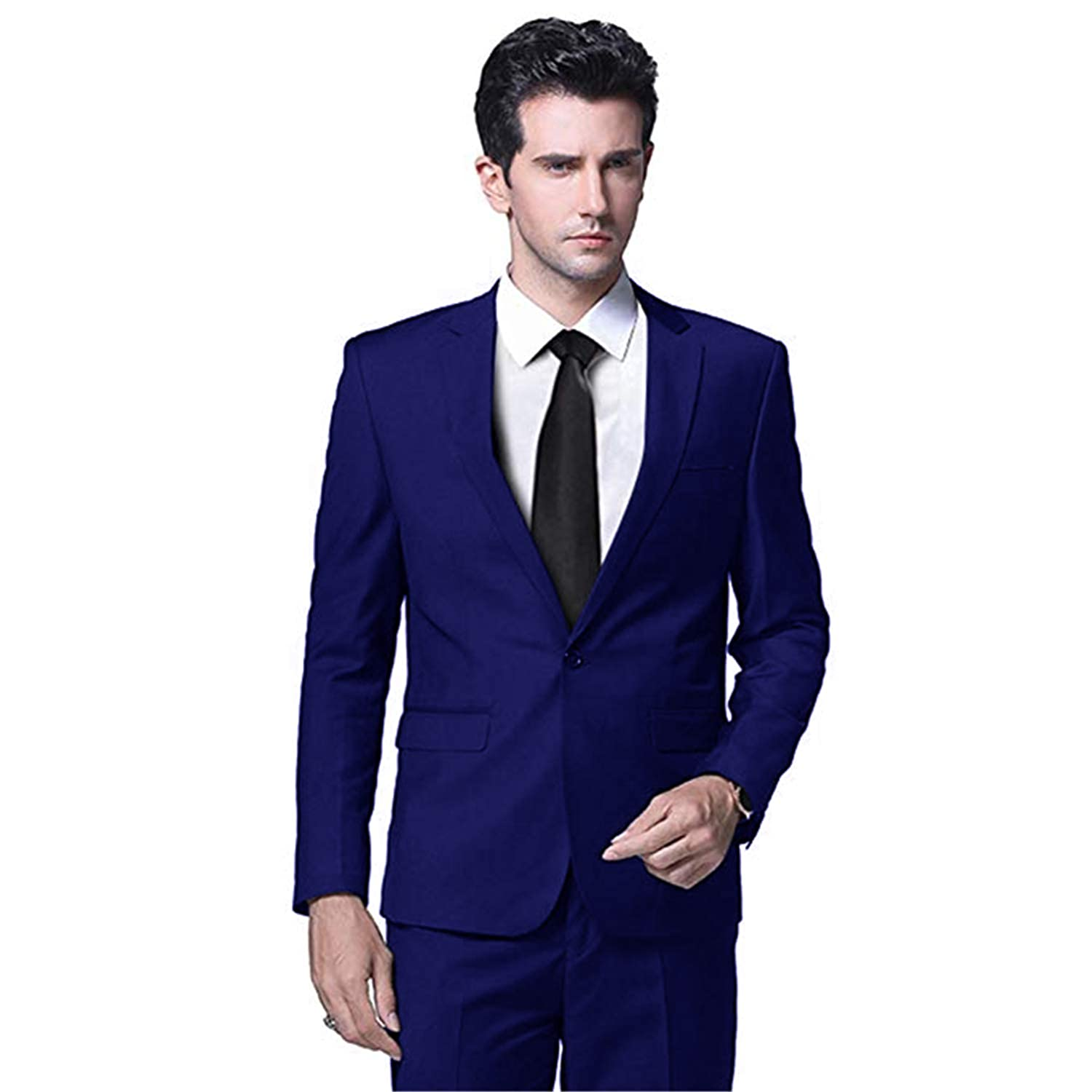Setwell Slim Fit Casual Tuxedo Suit Set Wedding Groom Dress Business Blazers 3 Pieces