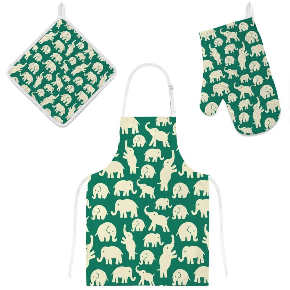 Top Carpenter Polyester Kitchen Oven Mitts Glove Potholder Apron 3Pcs Set Elephants On Green Non Slip Heat Resistant Mitts for Baking Cooking BBQ