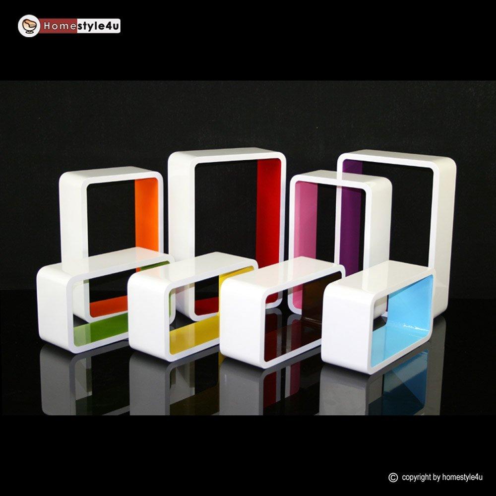 Homestyle4u Cube Wandregal Regal Bücherregal Hängeregal 3 er Set Retro Design weiss rot Homestyle4u_796