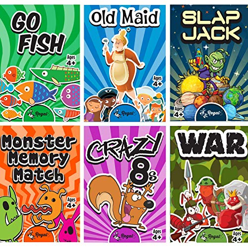 Regal Games Classic Card Games – Games Included May Vary – Includes Old Maid, Go Fish, Slapjack, Crazy 8's, War, and…