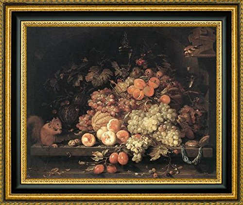 Fruit Still-Life with Squirrel and Goldfinch by Abraham Mignon - 12
