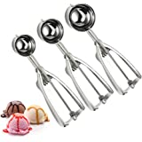 Ice Cream Scoops,Cookie Scoop Set,Stainless Steel Trigger Ice Cream Scoop Set,Melon Baller Fruit Melon Baller, Melon Scoop Spoon Set of 3 (Small,Medium,Large)