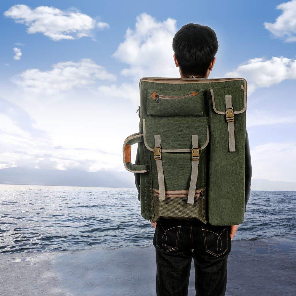 mochila multifuncional de hombro para dibujar bosquejos Fiona bolsa de hombro color verde Bolsa de transporte para artistas bolsa de transporte de campo pintura lona vintage 4K