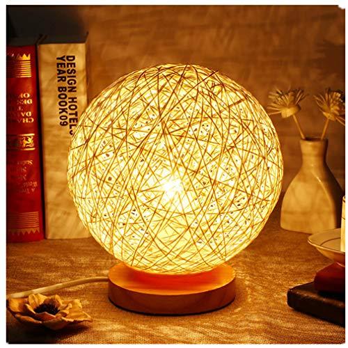 ARDUX Bedside Table Lamp, Rattan Ball Night Light Energy Saving Mood Light for Living Room Bedroom Home Bookroom Decoration (Warm White)