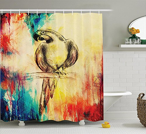 [Parrots Decor Shower Curtain Set Grunge Style Parrot Figure on Vintage Paper Background Smart Talkative Flying Mascots Print Bathroom Accessories] (Parrot Costume Ebay)
