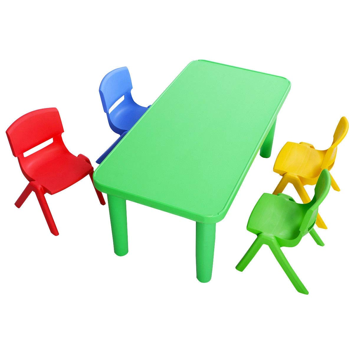 Kids Colorful Plastic Table and 4 Chairs Set | Quality Durable Sturdy Wooden Activity Workstation | Plastic Smooth Rounded Corners Children Drawing Desk | Preschool Homeschool | Unisex Boy Girl by Cway