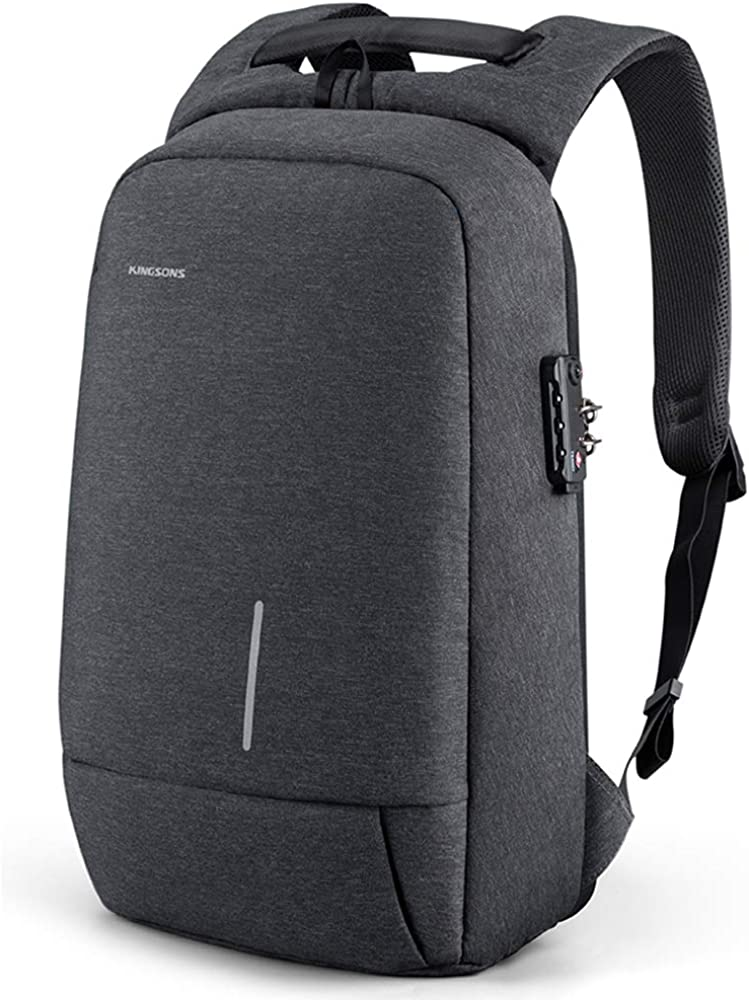 "Kingsons Backpack for Men Lightweight Tsa lock anti theft backpack 15.6"" USB Charging Port Slim Travel Laptop Backpack"