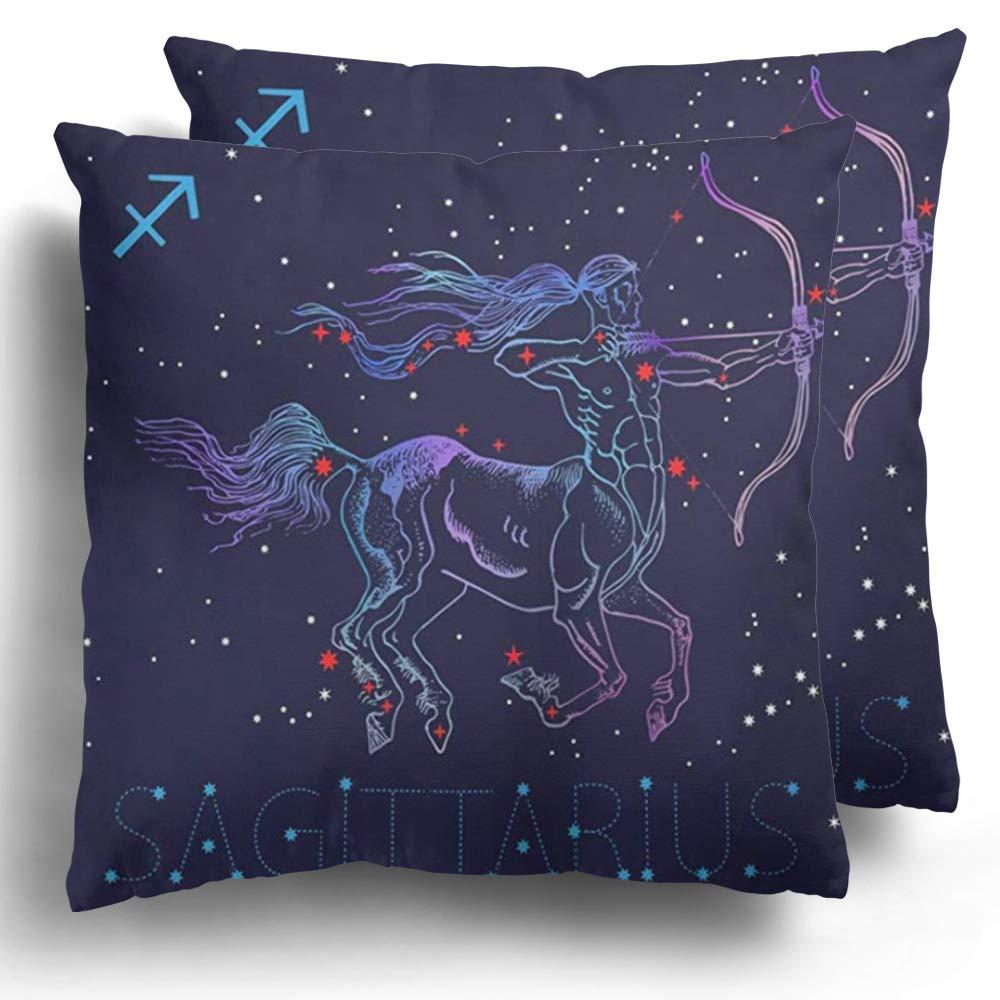 Throw Pillow Covers 2 Pieces Sagittarius Zodiac Sign Archer Centaur Horoscope Astrology Greek Mythology Vintaget Cotton Cushion Pillowcase Home Decor 20 x 20 Inches