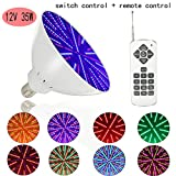 #8: 12V 35W AC/DC Color Changing Swimming Pool Lights LED Bulb (switch control + remote control type) for Hayward Light Fixture E26/E27
