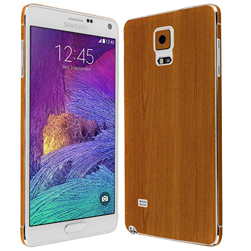 4 Screen Protector + Light Wood Full Body, Skinomi TechSkin Light Wood Skin for Samsung Galaxy Note 4 with Anti-Bubble Clear Film Screen ()
