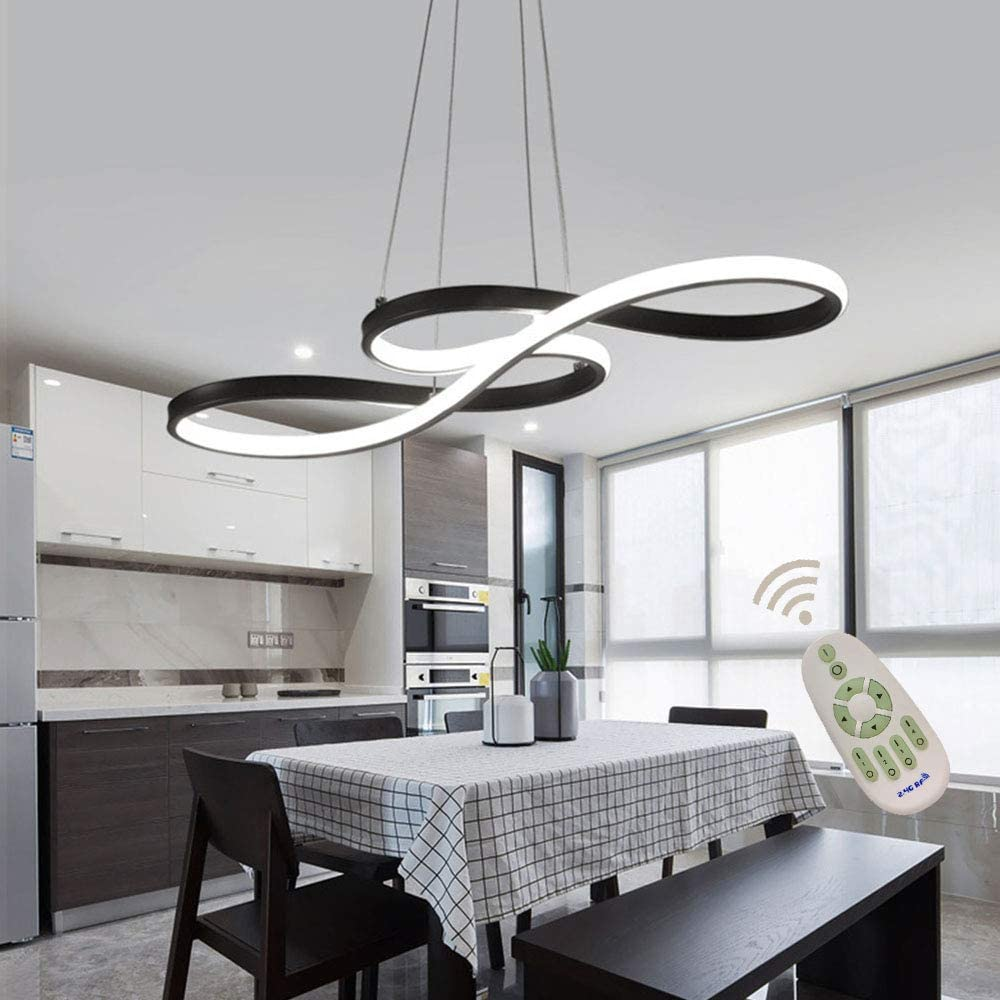 COLORLED Modern Minimalist Acrylic Remote Control Ceiling Light with 6-Light Flower Shaped Round Circles Chandelier for Living Room Bedroom and Restaurant Pendent Lights Fixtures White