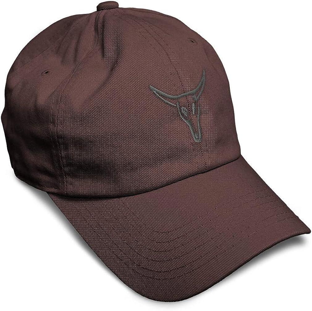 Custom Soft Baseball Cap Bull Skull B Embroidery Dad Hats for Men /& Women