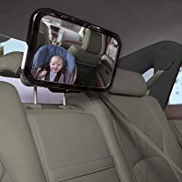 Bargains4world - Back Seat Baby Mirror Peace of Mind to Keep an Eye on Baby in a Rear Facing Child seat - Premium Black Frame - Safest Shatterproof
