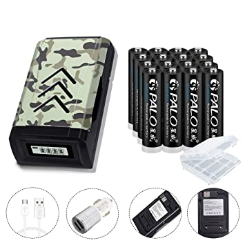 Cargador de batería LCD PALO 4Bay USB individual con paquete de 16 baterías AAA 300mAh Ni-MH recargables