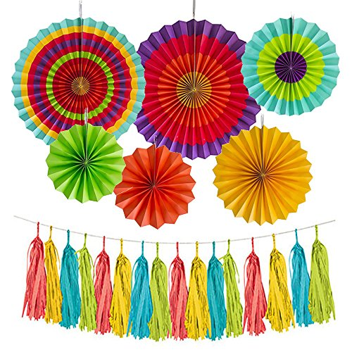 JW Passion Fiesta Colorful Latin Pattern Paper Fans Flowers Round Wheel Disc Southwestern Tissue Tassels Party Carnival Color Ceiling Hanging Decorations Set