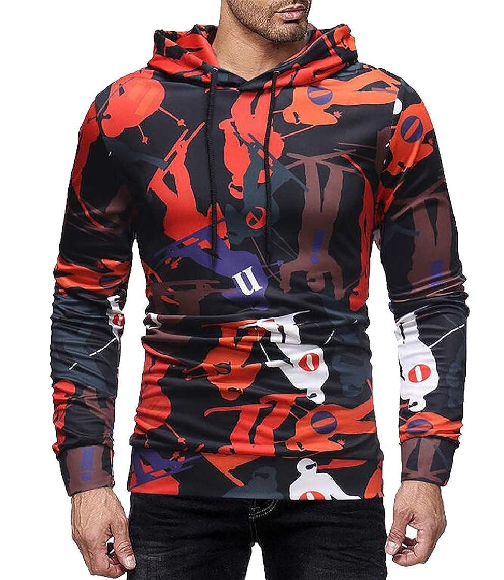 mydeshop Mens Print Long Sleeve Drawstring Hooded Sweatshirts Shirts