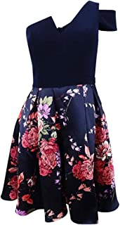product image for Betsy & Adam Womens One Shoulder Floral Party Dress Navy 8