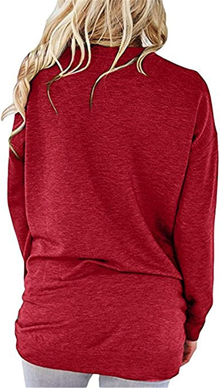 shifeier Womens Casual Round Neck Long Sleeve T-Shirts Tops Blouse with Pocket