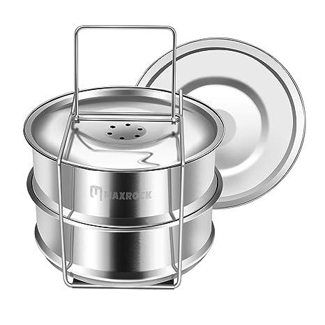 MAXROCK 2 Tier apilable acero inoxidable Vapor Insertar sartenes Instant Pot Maceta Accesorios – Compatible con