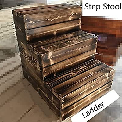 Escalera de Taburete de Madera de 3 Pasos para Adultos Artículos para el hogar Utilidades Taburetes de pies pequeños Banco de Zapatos Estantería de Flores Escabel de Madera para Interiores Durable: Amazon.es: