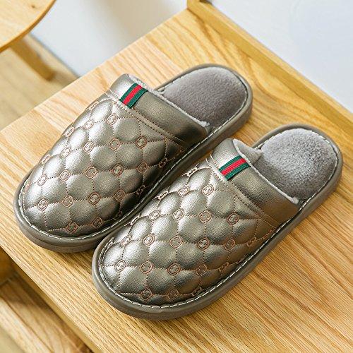 Y-Hui zapatillas de algodón impermeable femenina interior de invierno Home Furnishing pareja Pu patinaje zapatillas grueso al final de otoño invierno gray
