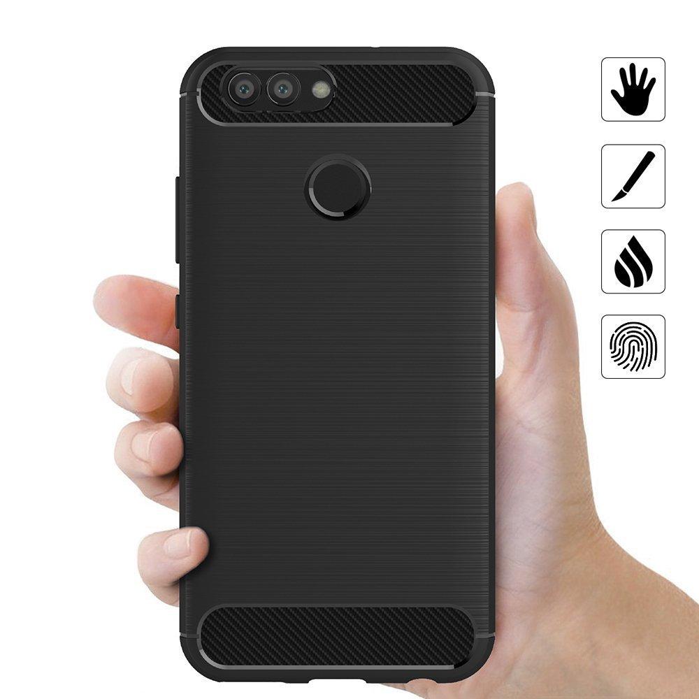 Coque-Etui-Housse-Silicone-brossee-Fibre-de-carbone-Noir-Protection-Huawei miniature 47