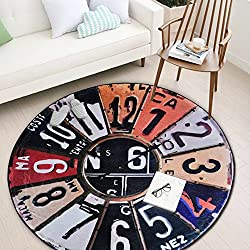 Exttlliy Polyester Fibre Round Retro Wall Clock Area Rugs Non-slip Mat Carpets for Kitchen/Bathroom (License Plate, Large)