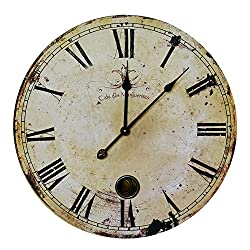 NIKKY HOME Classic Time Wall Clock, 23'', Rustic Yellow