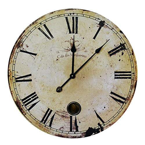NIKKY HOME Classic Time Wall Clock, 23 , Rustic Yellow