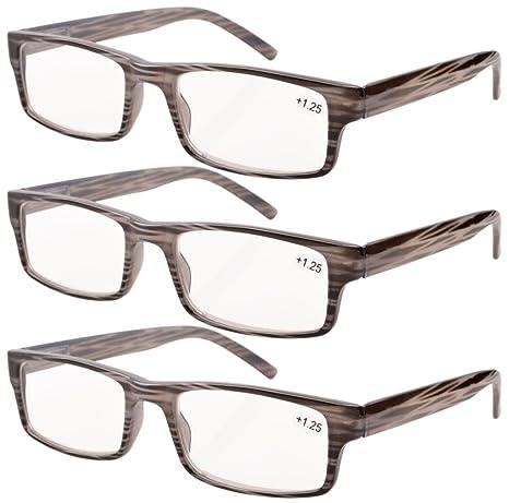Eyekepper Bisagra de resorte A rayasGafas de lectura (3 pares) hombres Raya gris +