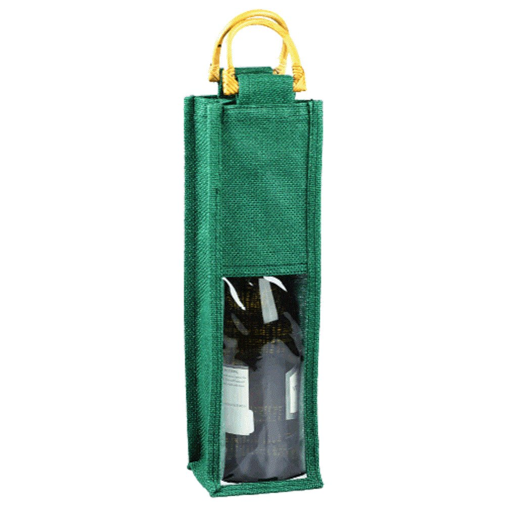 Jute Wine Single Bottle Gift Tote Bags Burlap w/ Cane Handles & PVC Window (1, HUNTER GREEN)