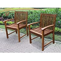 International Caravan VF-4209-2CH-IC Furniture Piece Highland Set of Two Acacia Hudson Arm Chair