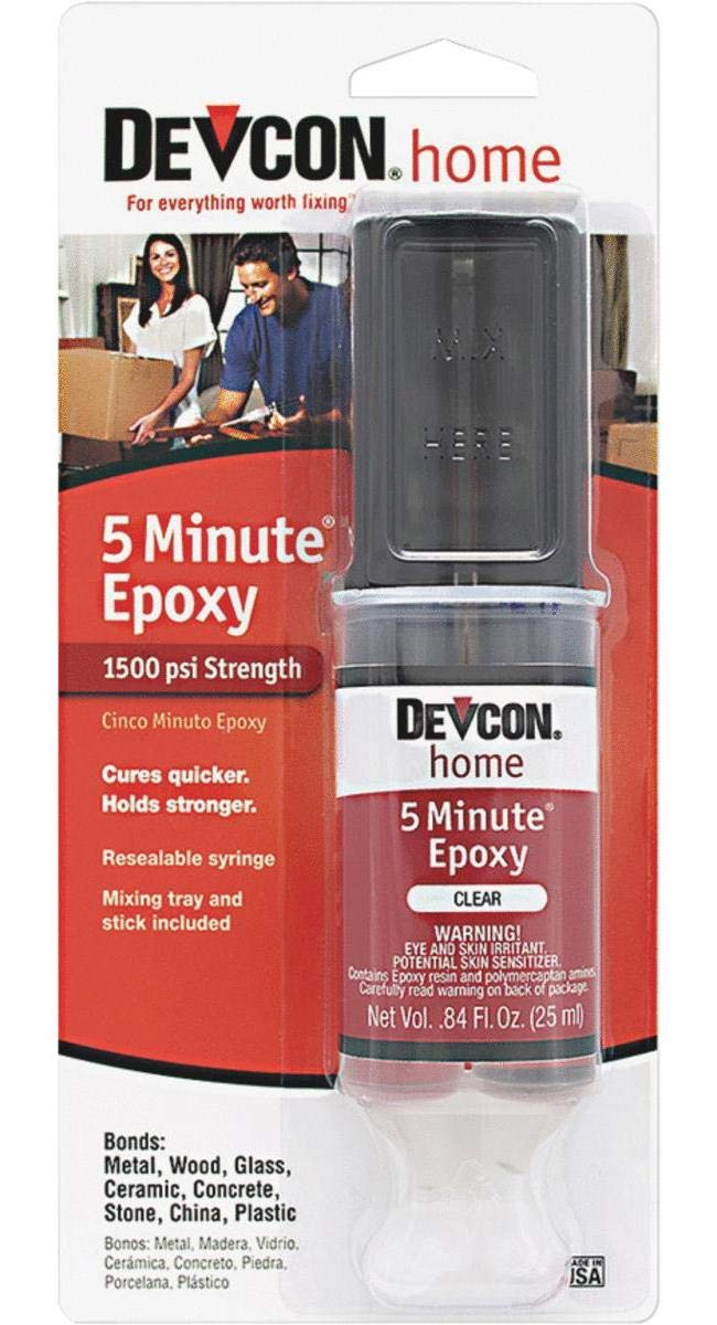 ITW Consumer/Devcon 20845 High Strength 5-Minute Epoxy with 25mL Syringe, Begins to Harden in 8 to 10 Minutes, 0.84 oz Syringe, Clear (Pack of 6)