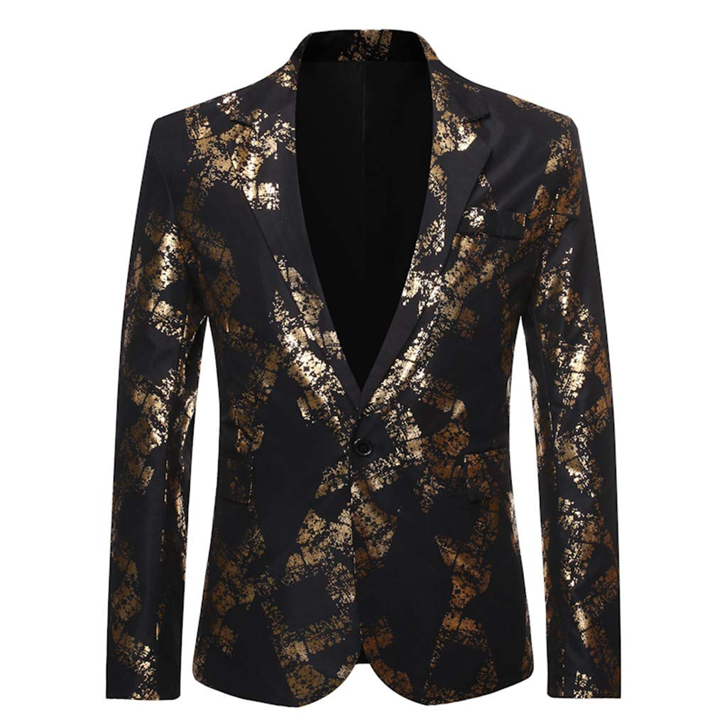 VZEXA Mens Suit Gold-Stamped Leisure Blazer One Button for Party Wedding Prom by VZEXA