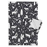 Roostery Arctic Animals Animal Winter Snow Black Nature Tea Towels Arctic Circle - Black Denim by Heatherdutton Set of 2 Linen Cotton Tea Towels