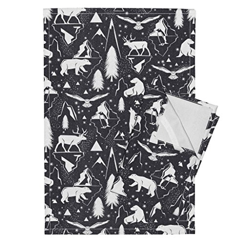 Roostery Arctic Animals Animal Winter Snow Black Nature Tea Towels Arctic Circle - Black Denim by Heatherdutton Set of 2 Linen Cotton Tea Towels by Roostery